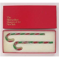4 VINTAGE MOMA CRYSTAL CANDY CANE ORNAMENTS IN #2377266