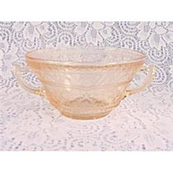 Patrician or Spoke Pink Handled Cream Soup Bowl#2377449