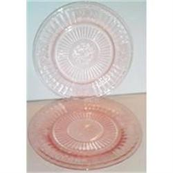 Two Pink Mayfiar Open Rose Round Plates #2377484