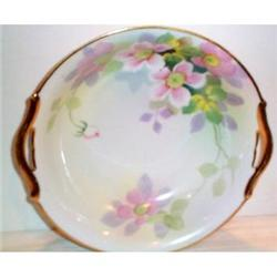 Large Hand Painted Nippon Floral Handled Bowl #2377488