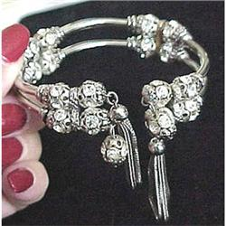 Rhinestone rondelle wrap bracelet & earrings #2377595