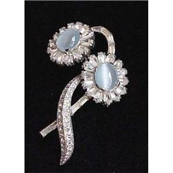 signed Jomaz moonstone floral pin #2377596