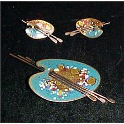 signed Matisse copper & enamel pin earrings #2377598