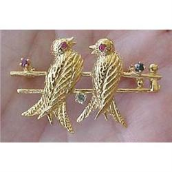 14k yellow gold bird pin with rubies  #2377602