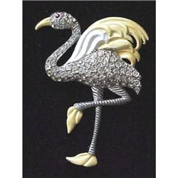 Figural flamingo rhinestone dress clip #2377603