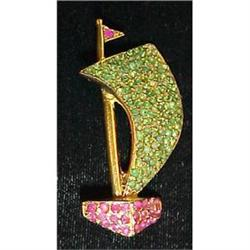 Swoboda emerald & ruby sailboat pin #2377609
