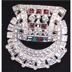 Multi colored rhinestone Art Deco pin #2377612