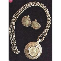 Miriam Haskell coin necklace & earrings #2377614