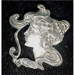 Sterling Art Nouveau lady face pin pendant #2377618