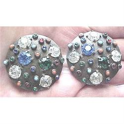 Pewter jewel studded  cirlce clip earrings #2377619