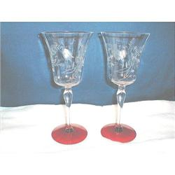 2 TIFFIN COLUMBINE CRYSTAL & RUBY WATER GOBLETS#2377660