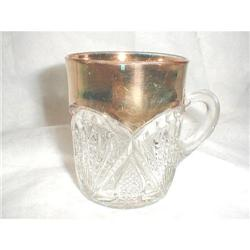 HEISEY PINEAPPLE AND FAN CUP WITH GOLD    #2377666