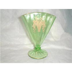 GREEN WITH GOLD FAN VASE #2377668