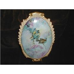 LIMOGES HAND PAINTED PLAQUE WITH BIRDS #2377685