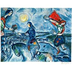 BEAUTIFUL MARC CHAGALL LOVERS OVER PARIS  #2377689