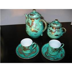 Chinese Dragon Tea Set  silver overlay ! #2377844
