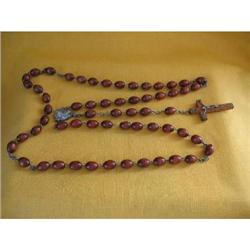 Vintage Italy Wooden Rosary Beads-30 Inches #2377877
