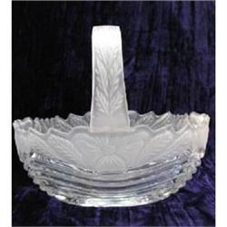 Clear and Frosted Glass Floral Basket w/Applied#2377879