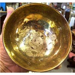 VICTORIAN HAND TOOLED SOLID BRASS BOWL #2377904