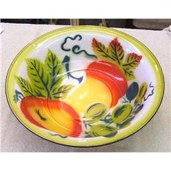 """15 1/2"""" GRANITE WARE BOWL DECORATED WITH #2377919"""