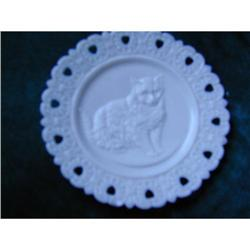 Reticulated Glass Victorian Cat Plate  #2377924