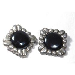 Large Old Taxco Mexico Sterling Onyx Earrings  #2378085