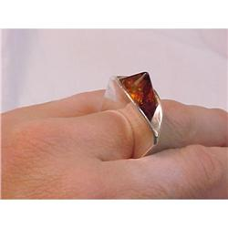 Amber Pyramid & Sterling  Ultra Modernist Ring #2378099