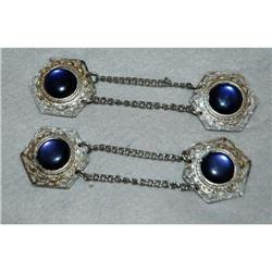 2 Sets of Silver & Blue Thermoset Cape Closure #2378120