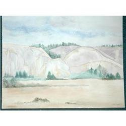 Lg watercolor painting of cliffs by D.L. Hadiak#2378125