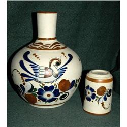 Lovely Old Mexican Pottery Water Vessel & Cup  #2378150