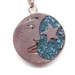 Taxco Turquoise Sterling Moon Star Pendant #2378179