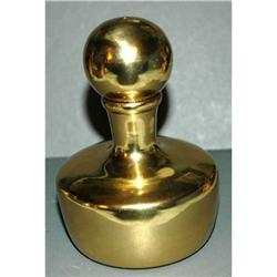 """Solid  Brass Bottle with Lid  4 1/4"""" tall #2378191"""
