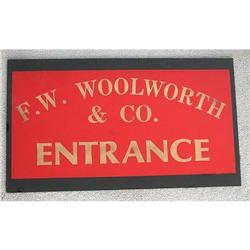 old vintage 1900s WOOLWORTH'S GLASS TRADE sign #2392844