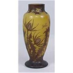GALLE ART GLASS VASE * HAND PAINTED SIGNED #2392845