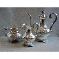 Swedish Sterling Silver Coffee Set Rococo Style#2392865