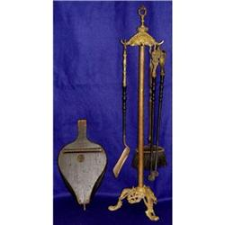 French Empire Dore Bronze Fireplace Tools Set #2393235