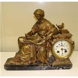 19th Century French Bronze Female Mantle Clock #2393256