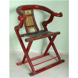 19c Chinese Folding Emperor Throne Chair #2393380