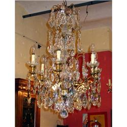 French bronze and crystal 6L Chandelier #2393387