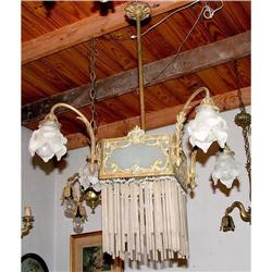 French Deco chandelier frosted glass  brass  #2393389