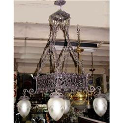 French wrought iron chandelier crystal shades #2393394
