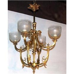 Quality French Bronze Empire Chandelier 4L #2393406