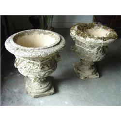 Pair of Small Moss Covered Stone Antique Urns #2393468
