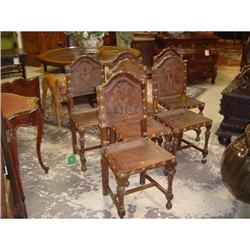 Antique French Leather Embossed Chairs (set of #2393480