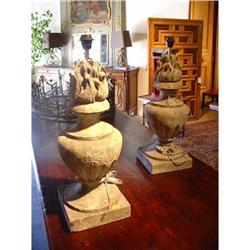 Pair of Stone Lamps from France  #2393485