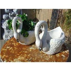 Pair of Stone Swan Planters from France #2393487