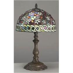 GLASS FLORAL TABLE LAMP / NEW #2379963