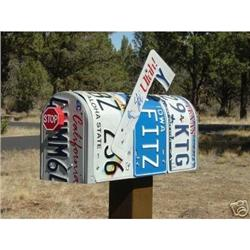 Country Rustic LICENSE PLATE Mailbox  #2379968