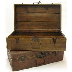 Antique 1920s early suitcase * wooden interior #2379977
