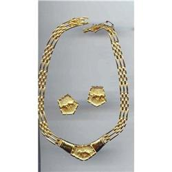 Gold tone Leopard Necklace and Earrings #2379990